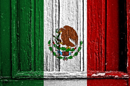 flag of Mexico painted on wooden frame photo