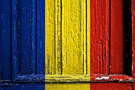 flag of Romania painted on wooden frame Stock Photo