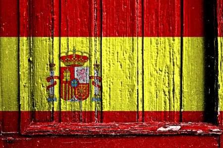 flag of Spain painted on wooden frame photo