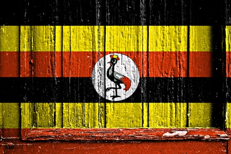 flag of Uganda painted on wooden frame photo