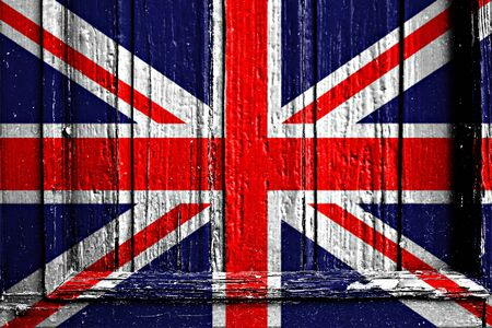 flag of UK painted on wooden frame photo