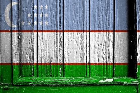 flag of Uzbekistan painted on wooden frame
