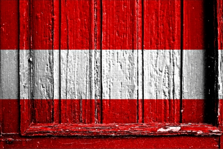 flag of Austria painted on wooden frame