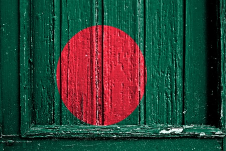 flag of Bangladesh painted on wooden frame