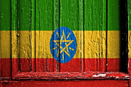 flag of Ethiopia painted on wooden frame Stock Photo