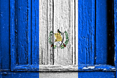 flag of Guatemala painted on wooden frame photo