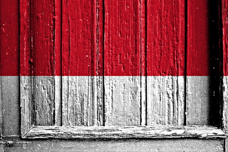 flag of Indonesia painted on wooden frame photo