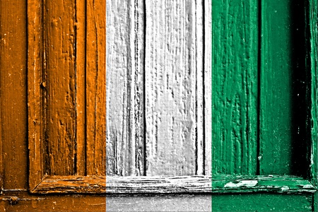 flag of Ivory Coast painted on wooden frame photo