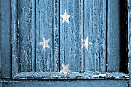 micronesia: flag of Micronesia painted on wooden frame