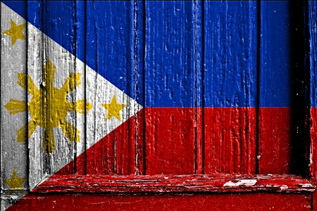 flag of Phillippines painted on wooden frame Stock Photo