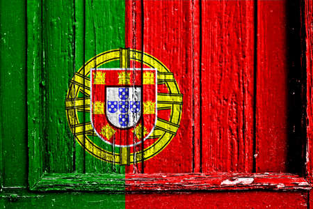 flag of Portugal painted on wooden frame photo