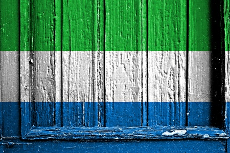 flag of Sierra Leone painted on wooden frame photo