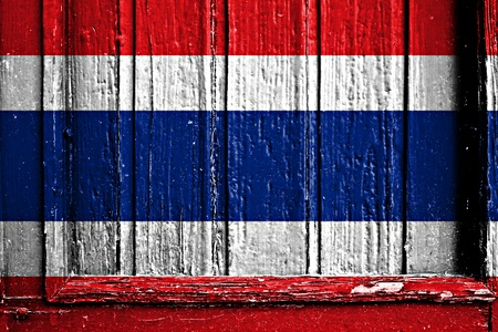 flag of Thailand painted on wooden frame photo