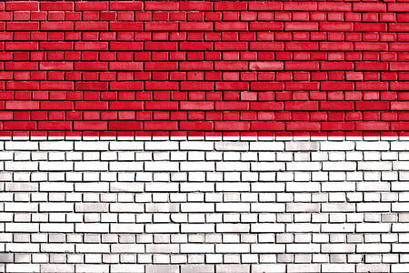 flag of Indonesia painted on brick wall photo
