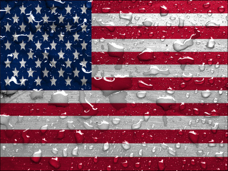 flag of USA with rain drops