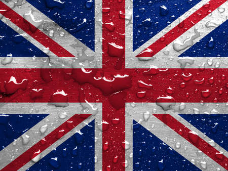 flag of UK with rain drops