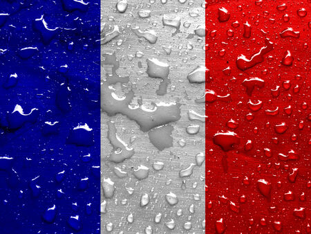 flag of France with rain drops Stock Photo