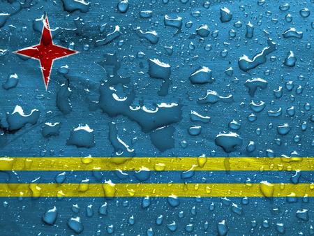 雨でアルバの旗が値下がりしました 写真素材