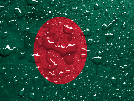flag of Bangladesh with rain drops photo