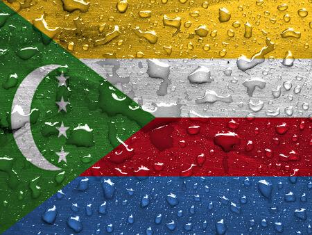 comoros: flag of Comoros with rain drops
