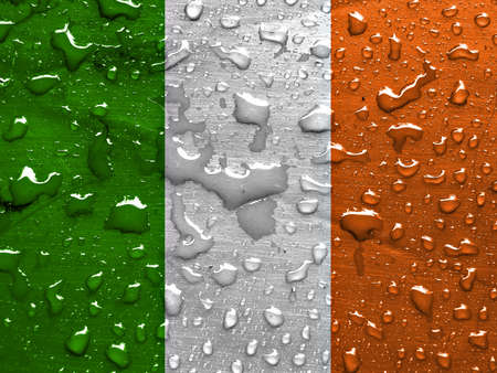 flag of Ireland with rain drops