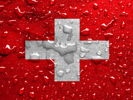flag of Switzerland with rain drops Stock Photo