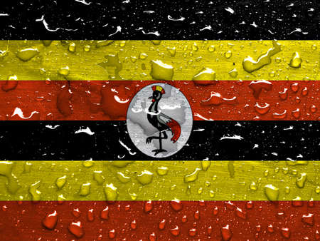 flag of Uganda with rain drops
