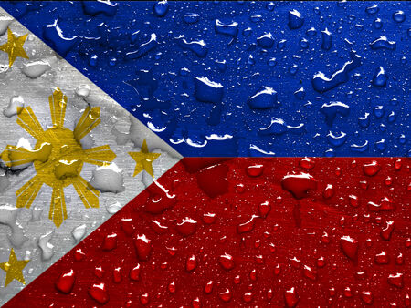 flag of Philippines with rain drops