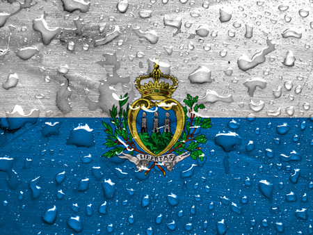 san marino: flag of San Marino with rain drops