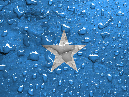 flag of Somalia with rain drops