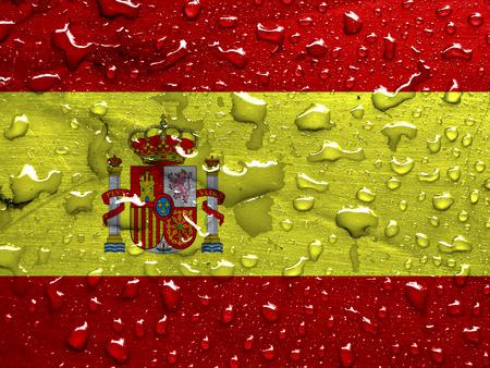 雨でスペインの旗を低下します。