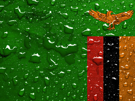 flag of Zambia with rain drops Stock Photo