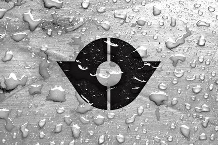 kita: flag of Kita with rain drops