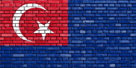ジョホール州の旗は、レンガの壁に描かれました。