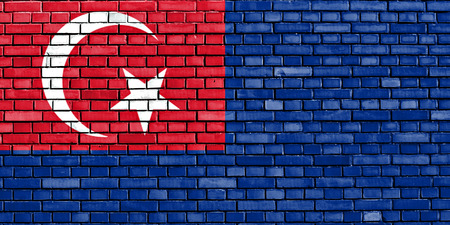 flag of Johor painted on brick wall Banque d'images