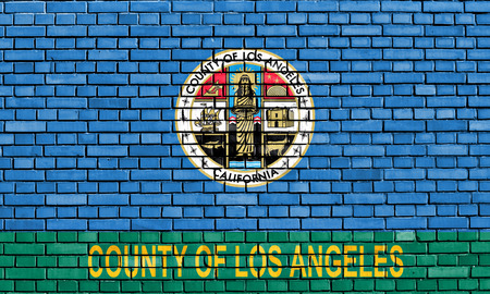 los angeles county: flag of Los Angeles County painted on brick wall Stock Photo