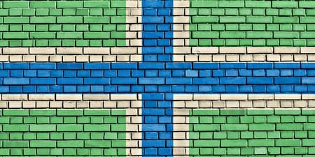 gloucestershire: flag of Gloucestershire painted on brick wall