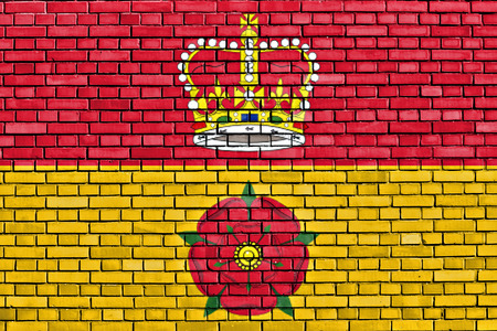 flag of Hampshire painted on brick wall