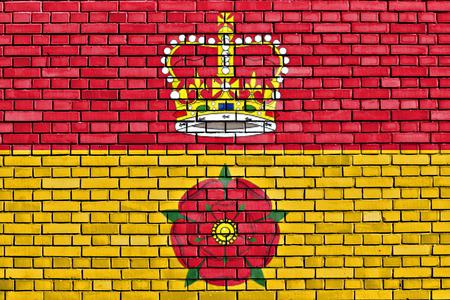 hants: flag of Hampshire painted on brick wall