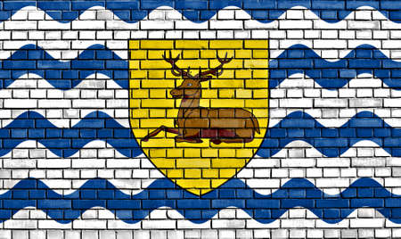flag of Hertfordshire painted on brick wall