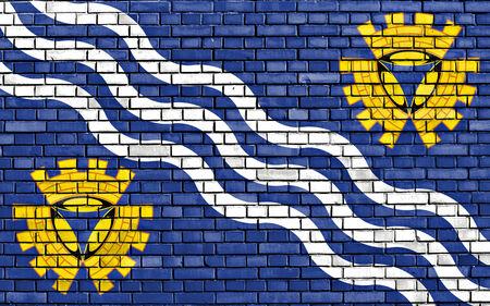merseyside: bandiera di Merseyside dipinta sul muro di mattoni