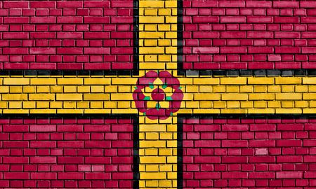 flag of Northamptonshire painted on brick wall