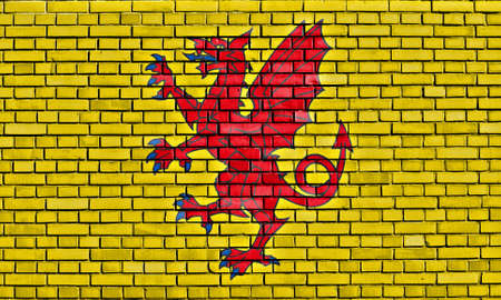 county somerset: flag of Somerset painted on brick wall Stock Photo