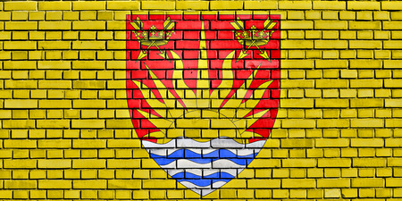 flag of Suffolk painted on brick wall