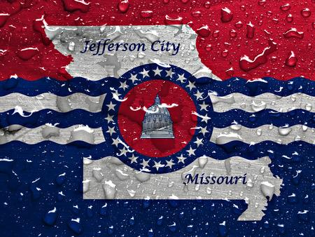 jefferson: flag of Jefferson City with rain drops Stock Photo