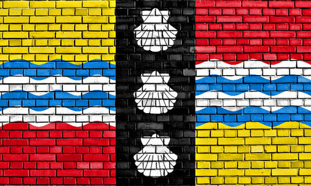 flag of Bedfordshire painted on brick wall