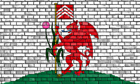 cardiff: flag of Cardiff painted on brick wall
