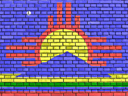 roswell: flag of Roswell painted on brick wall Stock Photo