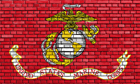 flag of United States Marine Corps painted on brick wall