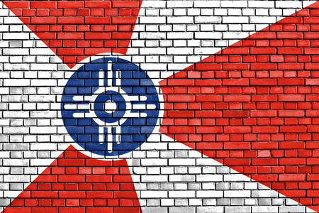 flag of Wichita painted on brick wall 版權商用圖片